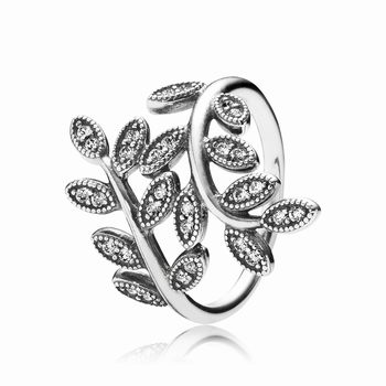 Pandora Sparkling Leaves Ring, Clear CZ 190921CZ