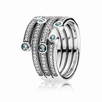 Pandora Shimmering Ocean Ring, Frosty Mint & Clear CZ 191002CZF
