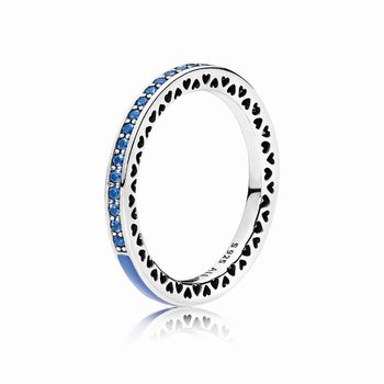 Pandora Radiant Hearts of PANDORA Ring, Princess Blue Enamel & R