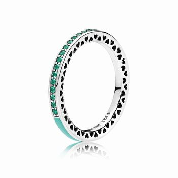 Pandora Radiant Hearts of PANDORA Ring, Bright Mint Enamel & Roy
