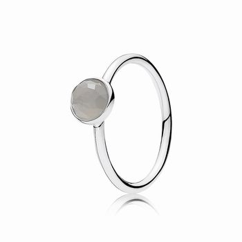 Pandora June Droplet Ring, Grey Moonstone 191012MSG