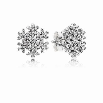 Pandora Snowflake silver stud earrings with clear cubic zirconia