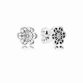 Pandora Floral Daisy Lace Stud Earrings 290692