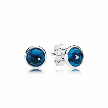 Pandora December Droplets Stud Earrings, London Blue Crystal 290
