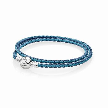 Pandora Mixed Blue Woven Double-Leather Charm Bracelet 590747CBM