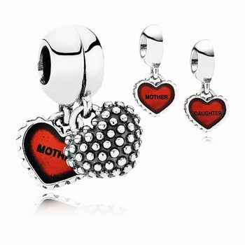 Pandora Piece Of My Heart, Daughter, Two-Part Dangle Charm, Red