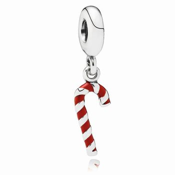 Candy Cane Dangle Charm, Red Enamel 791193EN09