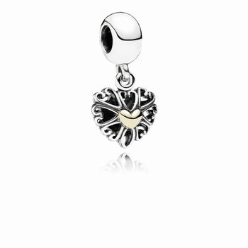 Filled With Love Silver & Gold Hanging Charm - PANDORA 791274