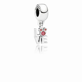 Disney Mickey LOVE silver dangle with red cubic zirconia 791448C