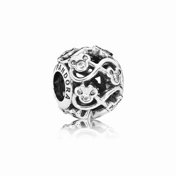 Disney openwork Minnie & Mickey infinity silver charm with cubic