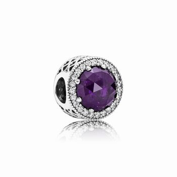 Pandora Radiant Hearts Charm, Royal-Purple Crystal & Clear CZ 79