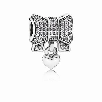 Pandora Bow silver charm with clear cubic zirconia and heart 791