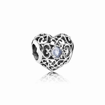 Pandora March Signature Heart Charm, Aqua Blue Crystal 791784NAB