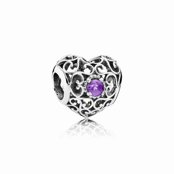 Pandora February Signature Heart Charm, Synthetic Amethyst 79178