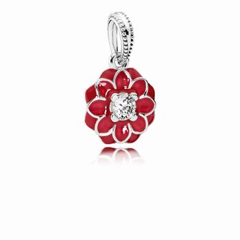 Pandora Oriental Bloom Dangle Charm, Red Enamel & Clear CZ 79182