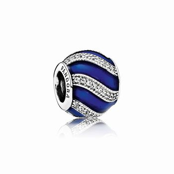 Pandora Adornment Charm, Transparent Royal-Blue Enamel & Clear C