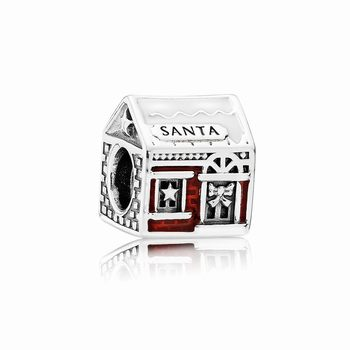 Pandora Santa's Home Charm, White & Translucent Red Enamel 79200